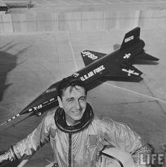 Test pilot Scott Crossfield standing in front of the X-15. (October 1958)