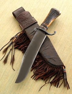 Bowie with Tooled Sheath