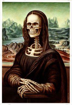 Bone-A-Lisa [Chris Roberts] (Gioconda / Mona Lisa) Bd Pop Art, Art Visionnaire, Digital Foto, Street Art, La Madone, Mona Lisa Parody, Skeleton Art, Italian Artist, Skull And Bones