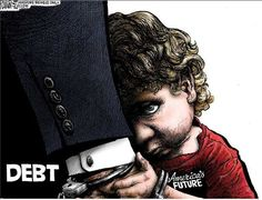 """""""The borrower is the servant of the lender, and through the mechanism of government debt virtually the entire planet has become the servants of the global money changers. Ramirez Cartoons, Michael Ramirez, Investors Business Daily, Stock News, National Review, Political Cartoons, We The People, That Way, The Borrowers"""