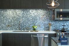 "Agate 1"" Hex Pearl Finish Glass Tile shown in the Pisa color | Available at Avalon Flooring | Starting at $39.71/square foot | #Backsplashtile #kitchenbacksplash #kitchentile #glasstile"