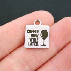 Coffee Wine Stainless Steel Charm Exclusive by BohemianFindings