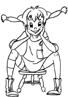 Lygwela coloring page of Pippi Longstockings    Like this coloring page? Right click the image and save the drawing on your computer and print the image. Of course, you can also print the coloring page without saving the image to you PC.