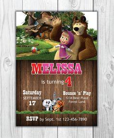 Masha y el oso de cumpleaños invitación por FVDeezigns en Etsy