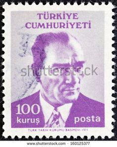TURKEY - CIRCA 1971: A stamp printed in Turkey shows a portrait of Kemal Ataturk, circa 1971. - stock photo