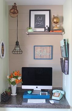 Check Out 23 Tiny Home Office Ideas To Inspire You. These clever tiny home office ideas prove you don't have to give up your workspace just because you live in a tiny space. Tiny Home Office, Small Home Offices, Home Office Space, Small Office, Home Office Design, Home Office Decor, Home Decor, Office Ideas, Office Designs