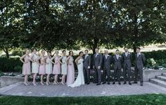Matt Shumate Photography at Lawson Gardens outdoor summer wedding party portrait groomsmen in gray suits bridesmaids in light pink dresses