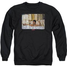 Scarface Bathtub Adult Crewneck Sweatshirt ($25) ❤ liked on Polyvore featuring tops, hoodies, sweatshirts, crew neck sweatshirts, crew-neck sweatshirts, crewneck sweatshirt, crew top and crew neck tops