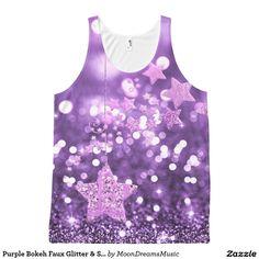 #PurpleBokeh #FauxGlitter & #Stars #AllOverPrint #TankTop by #MoonDreamsDesigns