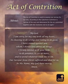 The Act of Contrition | Infographic | Catholic | Prayer | Face Forward Columbus
