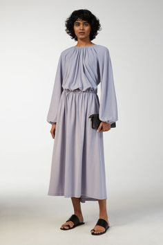 Model front image of Arket ice crepe jersey dress in blue