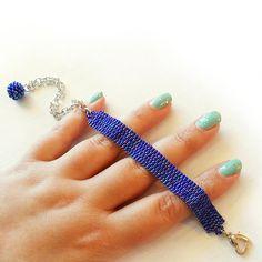 Dark Blue Beads Bracelet Beadwork Bracelet by dicopebisuteria