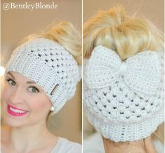 Messy Bun Beanie with Bow! Crochet. I love this pattern & size of the bow! Just need some color:)