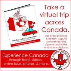 The Canadian Adventure book is a province by province virtual trip. Take you and your kids on a tour of Canada – from Newfoundland to BC and through the three territories.Take a peek inside: The Canadian Adventure Sample Canada For Kids, All About Canada, Canada 150, Teaching Social Studies, Teaching Kids, Map Skills, Virtual Field Trips, Canadian History, Project Based Learning