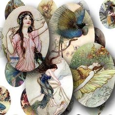 Fairies and Water Nymphs in tiny ovals. About 70 different little Victorian-era children's illustrations. Printables by piddix.