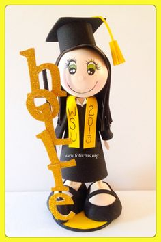 Celebrate your graduate's special day with these Custom Graduate Fofucha Dolls. Can make a lovely and unique gift, decor, centerpiece or even a keepsake gift.Foam doll are handmade from foamy material and hand painted, Doll comes with base included. Measures approx. 11-12″ height  I hand customize my orders, So you can specify some Physical Features such as:  * Hair Color*  * Eyes Color* Curly or Straight*Skin color  *Gown color  Any questions feel free to message  #graduation#crafts…