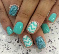 Mint, glitter chevron nails