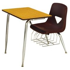 "Scholar Craft 620 Series Chair Desk - These popular chair desks feature an ergonomically-shaped heavy-duty seat shell made of superior high-density polyethylene, with 15-inches between top and seat for maximum classroom seating comfort.  Each combo desk is supported by bright nickel chrome plated legs and includes either wood or solid plastic top and a spacious underseat bookrack.  Available in seat and top finishes in 13.5"", 15.5"", and 17.5"" heights."