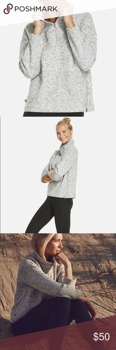 Fabletics Alpine Pullover We can already smell the fireplace burning. The only thing missing is a cosy pullover. Slip into a marled topper with a stylish funnel neck for warmth and a side zipper in case things heat up. Fabletics Sweaters Cowl & Turtlenecks