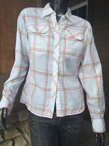 Women's Columbia Sportswear Med White Red Green Plaid Button Front Cotton Top | eBay