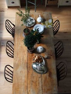 Farmhouse Table by ZombieGirl. I would love a long bench seat to replace one side of chairs.