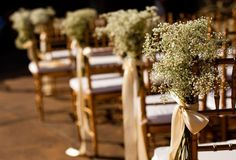 baby's breath on aisle chairs
