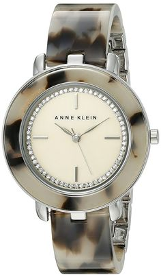Anne Klein Women's AK/1973CMGY Glitter Accented Silver-Tone and Grey Tortoise Resin Bangle Watch * Click on the watch for additional details.