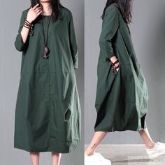Green plus size cotton sundress summer maxi dresses causal traveling dressesThis dress is made of cotton or linen fabric, soft and breathy, suitable for summer, so loose dresses to make you comfortable all the time.Measurement:  Size M length 107cm / 41.73