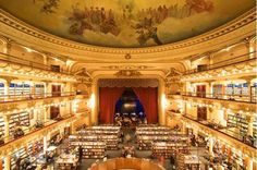 1920s movie palace uses theatre boxes for reading rooms at Librería El Ateneo Grand Splendid, Buenos Aires, Argentina.