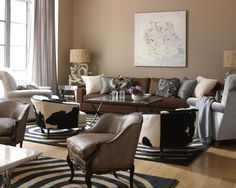 Modern Living Room Brown Leather Couch Design, Pictures, Remodel, Decor and Ideas - page 4 Brown And Blue Living Room, Beige Living Rooms, Living Room Paint, Living Room Modern, Living Room Interior, Living Room Bedroom, Rugs In Living Room, Small Living, Murs Beiges