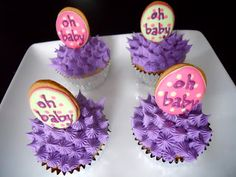 Cupcakes with Owl Egg Cookie Toppers .Oh Sugar Events: Owl Baby Shower