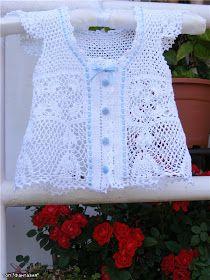 Crochet Lace Vest (for girls) Crochet Girls, Crochet For Kids, Crochet Lace, Baby Girl Patterns, Lace Vest, Crochet Slippers, Baby Kind, T Shirt Yarn, Baby Sweaters