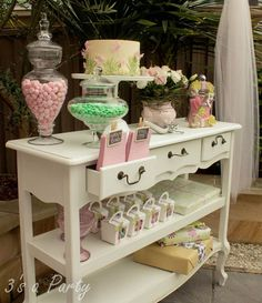 simply stunning candy/lolly table for a party... I just really want the table!!