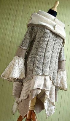 Beige and Cream Cowl Collar Tunic/Dress I think I need a surger, and then a trip to the thrift store. I love this style. Beige and Cream Cowl Collar Tunic/Dress Old Sweater, Sweater Coats, Pullover Upcycling, Recycled Sweaters, Mode Boho, Altered Couture, Recycled Fashion, Diy Clothing, Diy Fashion
