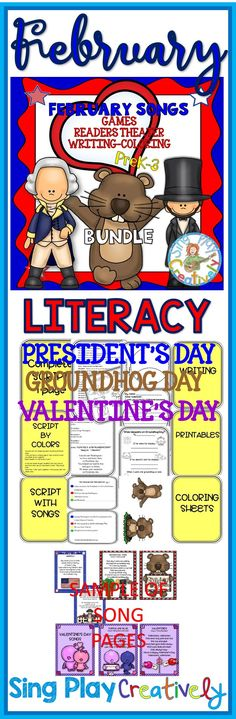 Sing, Read and Write your way through your February literacy stations with Presidents Day, Valentine's Day and Ground Hog Day songs, poems and reader's theater.  All in one nice bundle! https://www.teacherspayteachers.com/Product/February-Holiday-Songs-Poems-Readers-Theater-with-Literacy-Activities-and-Game-1680015
