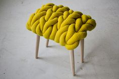 Claire-Anne O'Brien: Links stool upholstered in oversize lambswool knit