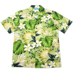 amazon green hawaiian cotton shirt