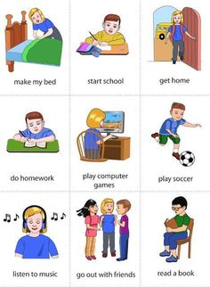 Good Images daily routine flashcards Thoughts Your daily routine consists of all of your habits.These actions structure your day and make the diff English Verbs, Kids English, English Tips, English Study, English Lessons, English Vocabulary, English Grammar, Learn English, English English