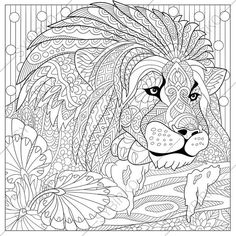 Adult Coloring Pages. Lion. Zentangle by ColoringPageExpress