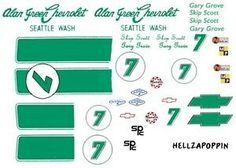 "Details about #7 Skip Scott 1968-69 Camaro Alan Green Chevrolet 1/24th - 1/25th Scale Decals PRICE* $8.00 BRAND HIGHLINE This car was painted all light green (Krylon ""Celery""). 1/24th - 25th Scale Waterslide Decals. Alan Green Chevrolet. Skip Scott. 1968-69 Camaro. Free"