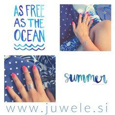 Summer jewelry, silver rings, bracelets