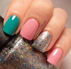 aqua, pink and glitter