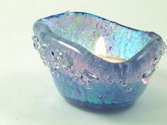 Fused  Dichroic Aqua Glass Candle Holder Tea by Mtbaldyglassworks, $34.00