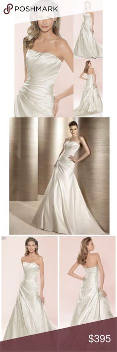 NWT Atelier Diagonal Wedding Dress NWT Atelier Diagonal by Pronovias Wedding Dress...optic white...brand new with tags...A line...strapless...satin gown...chapel train...back zipper concealed with buttons...natural waist. Size 22. Retail $1,450 Atelier Diagonal Dresses Wedding