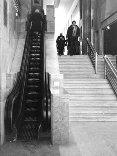 """The first escalator in Toronto (and Canada), a wooden """"traveling stair,"""" was installed at the T. Eaton Co. store on Queen Street West 99 years ago Eaton College, Queen Street West, Yonge Street, Toronto Ontario Canada, Canadian History, Places To See, Cool Photos, Stairs, Cities"""