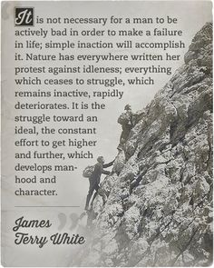 Inaction is a disgrace to ones character.