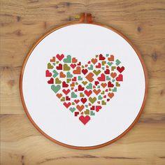 Amor corazones en corazón cruz puntada puntada por ThuHaDesign
