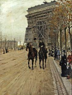 Giuseppe De Nittis (Italian 1846–1884) [Impressionism, Salon] Aride along the Avenue des Champs-Elysées, 1875.