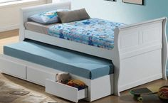 Nebo White Wood Twin Captain Bed w/Trundle