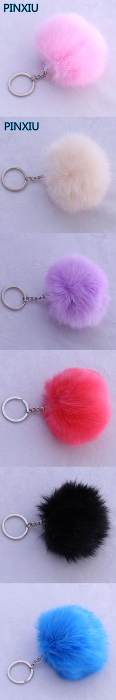 PINXIU Lovely Fluffy Rabbit Ear Fur Ball Key Chain Rings Pendant Cute Pompom Faux Rabbit Fur Keychain Women Car Bag Key Ring